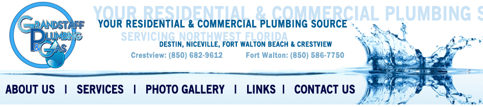 Grandstaff Plumbing & Gas Logo, Crestview, Niceville, and Destin Florida Service Area Display, and Contact Information